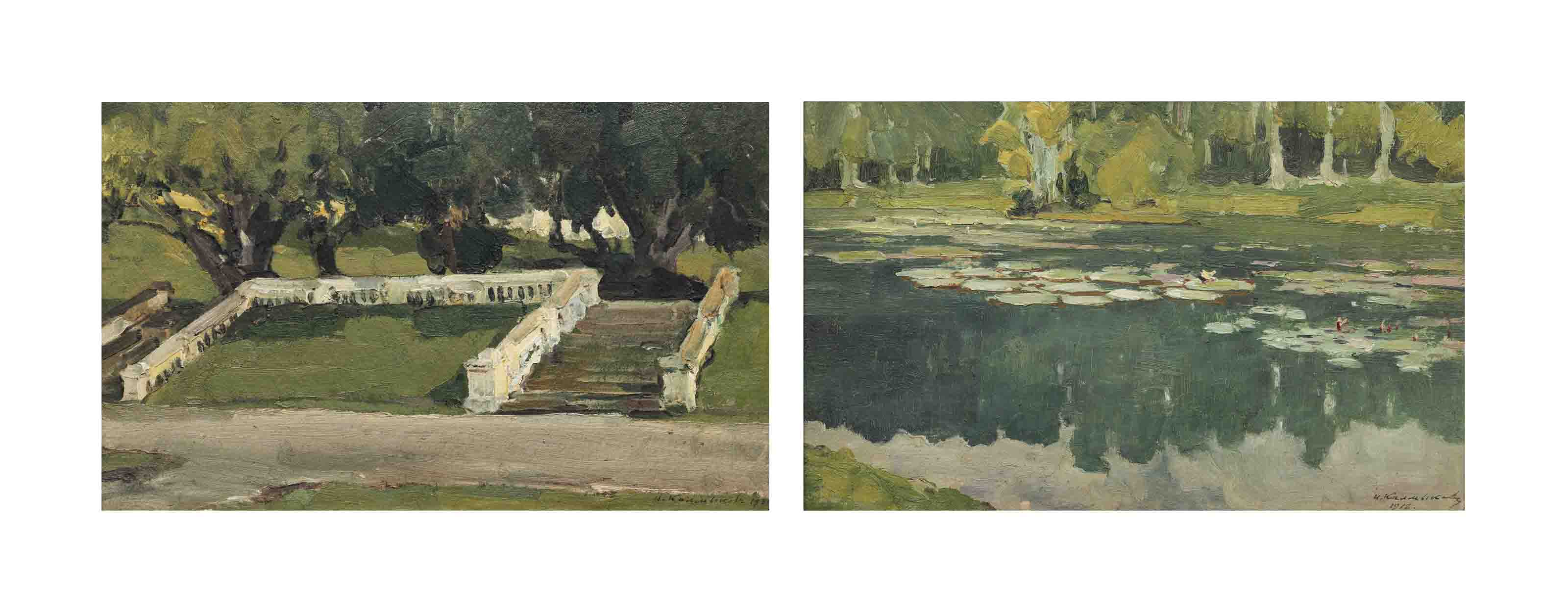 Study of water lilies; and Study of garden steps