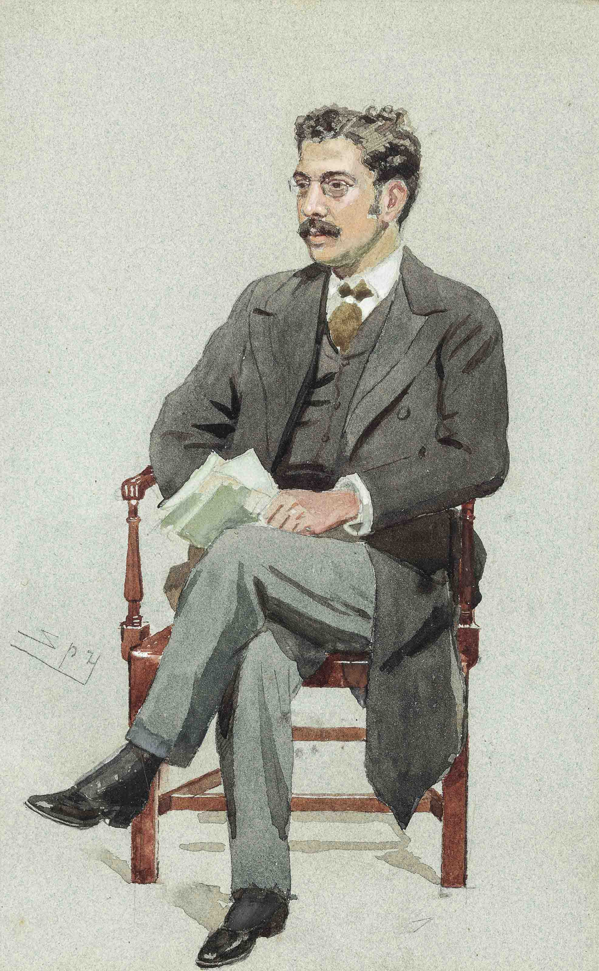 Portrait of Clement King Shorter (1857-1926), seated