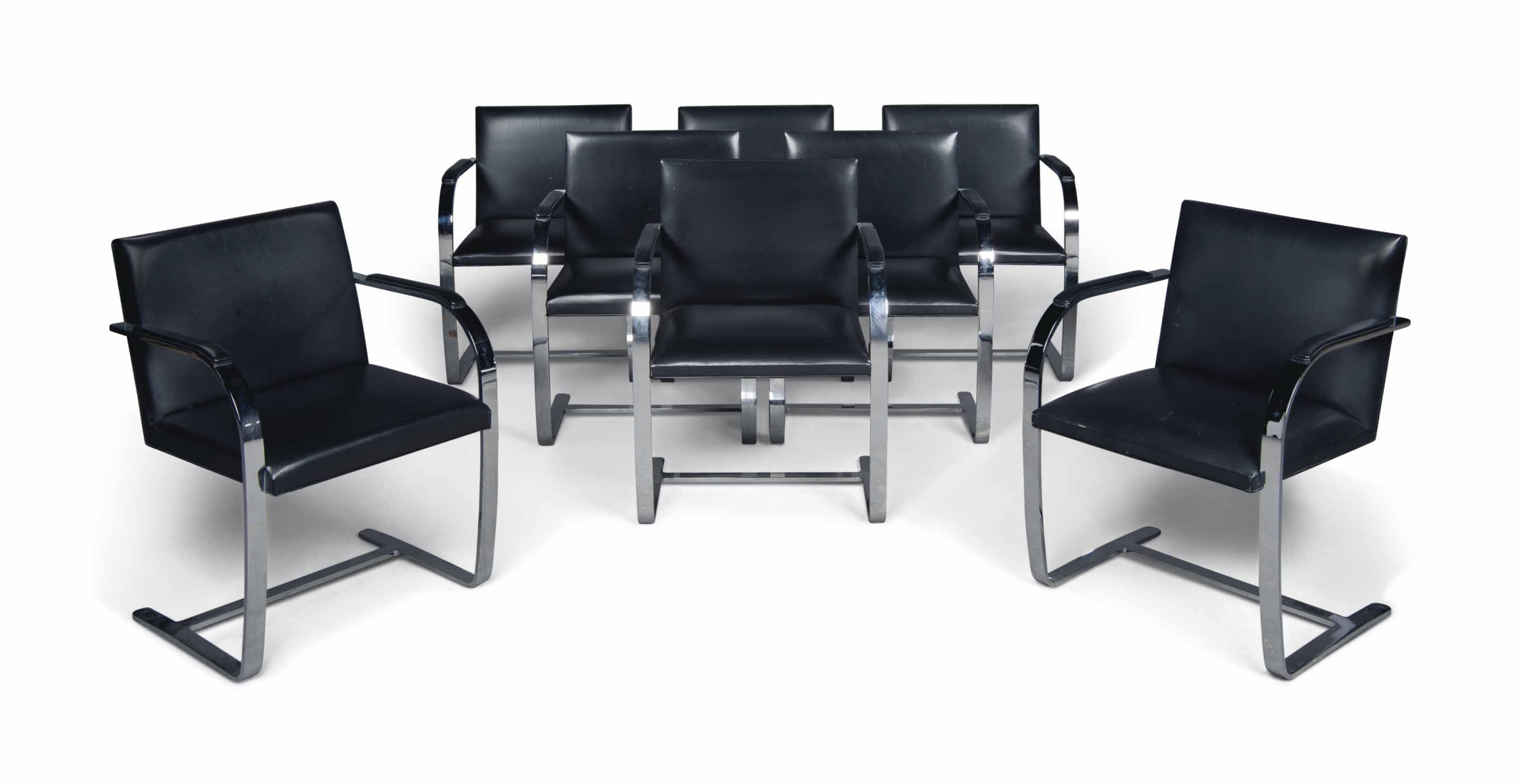A SET OF EIGHT LUDWIG MIES VAN DER ROHE (1886-1969) CHROMIUM-PLATED STEEL AND LEATHER 'BRNO' CHAIRS