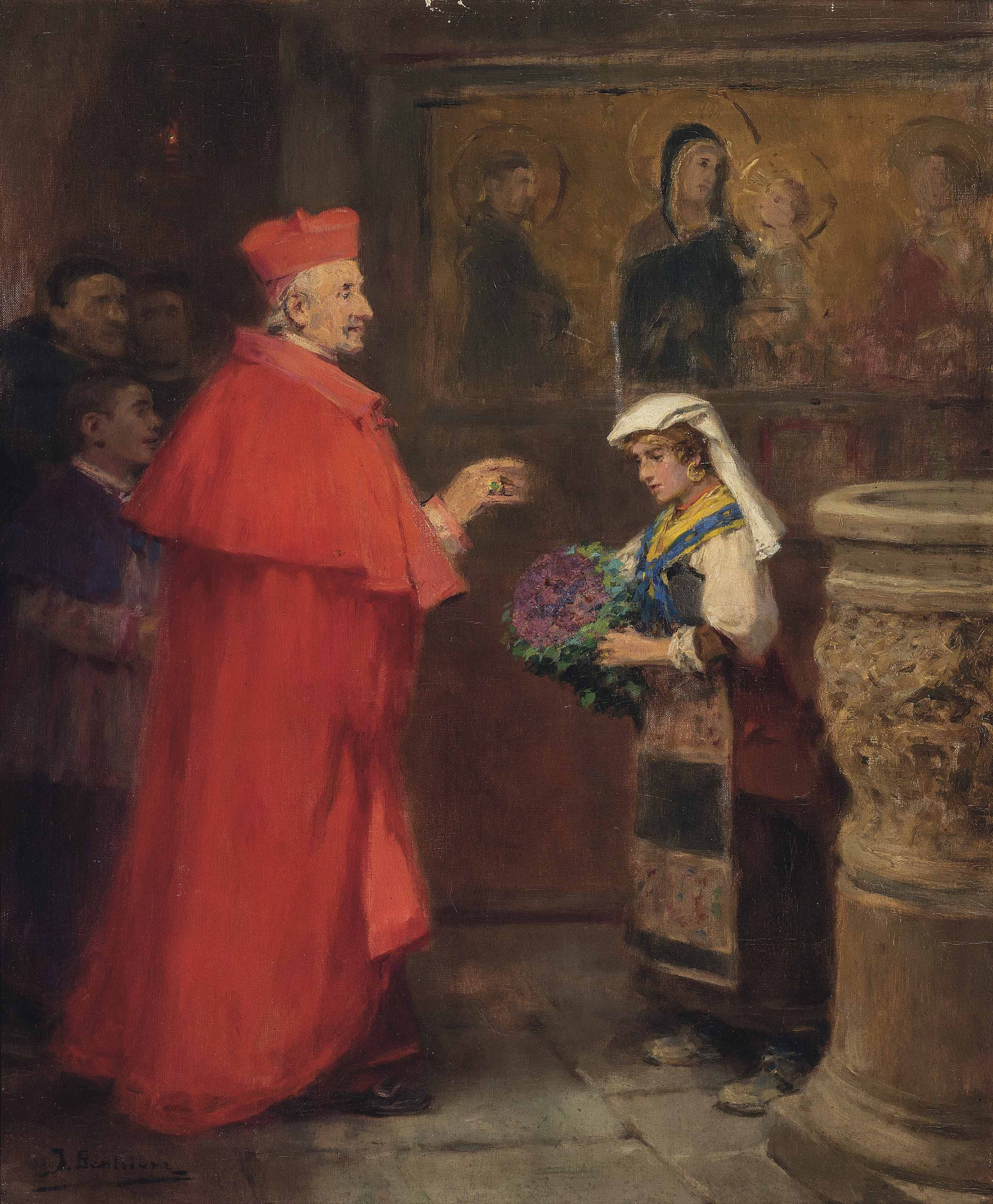 A cardinal blessing flowers in the Basilica of San Francesco d'Assisi