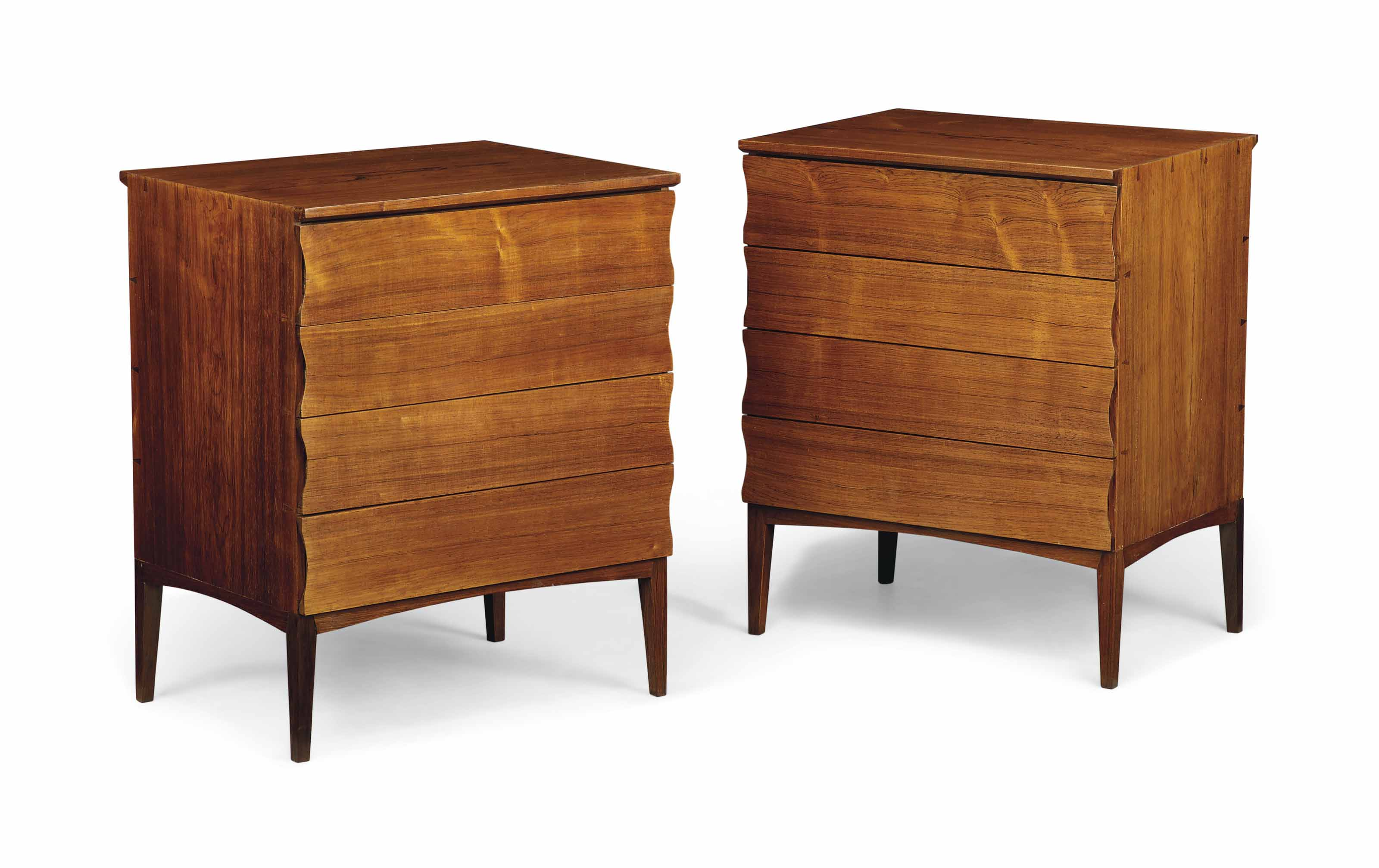 A PAIR OF DANISH, BRAZILIAN ROSEWOOD SIDE CABINETS POSSIBLY DESIGNED BY FRITZ HENNINGSEN