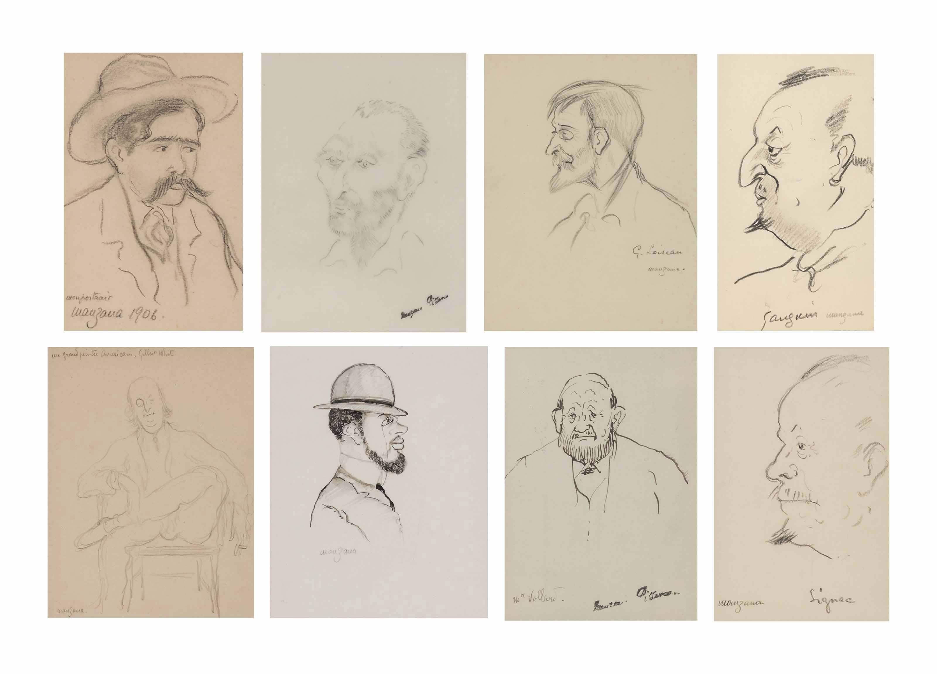 A group of eight portrait sketches: Self-portrait; Vincent van Gogh; Gustave Loiseau; Paul Gauguin; Gilbert White; Henri de Toulouse-Lautrec; Ambrose Vollard; and Paul Signac