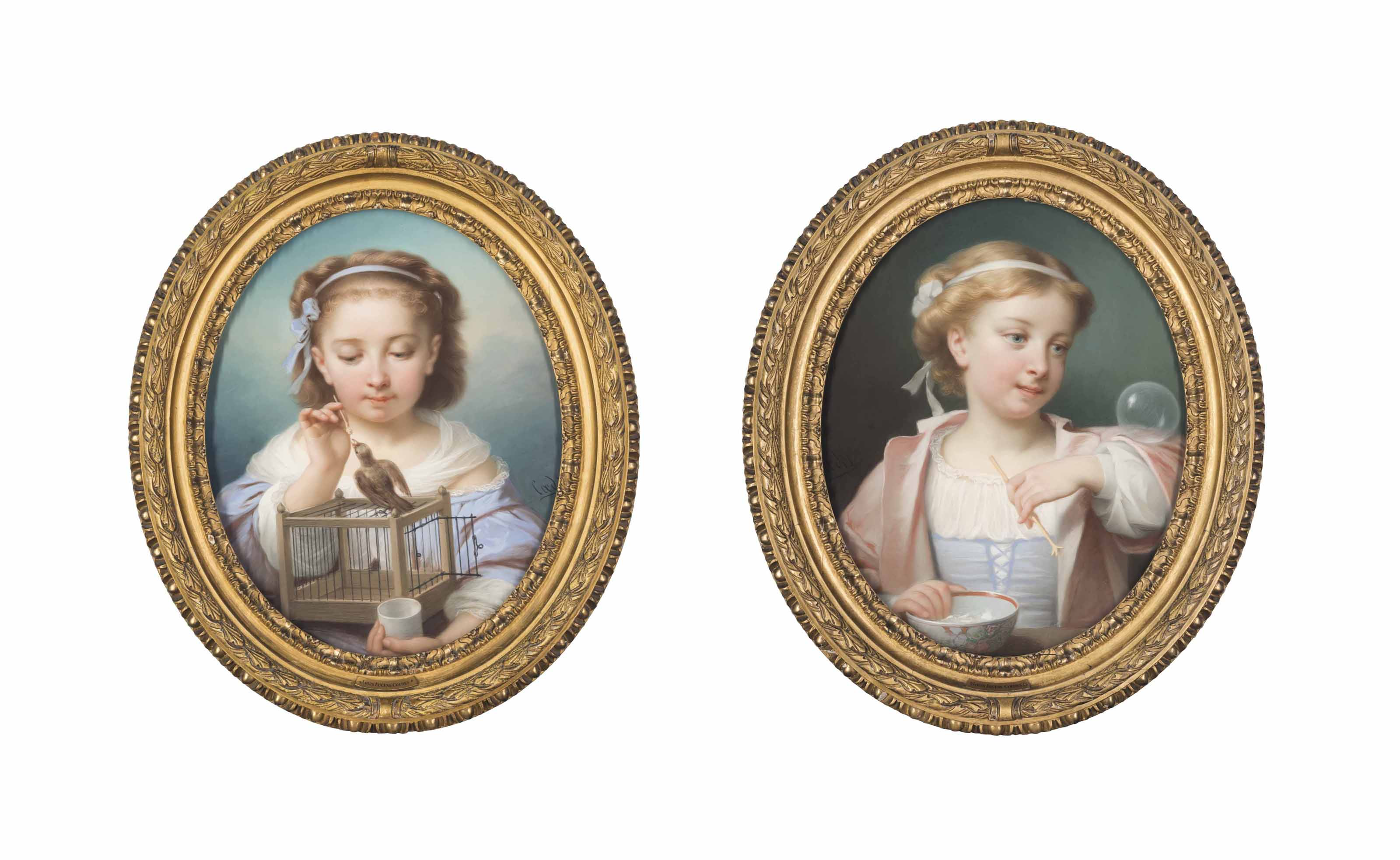 A child with a birdcage; and A child blowing bubbles