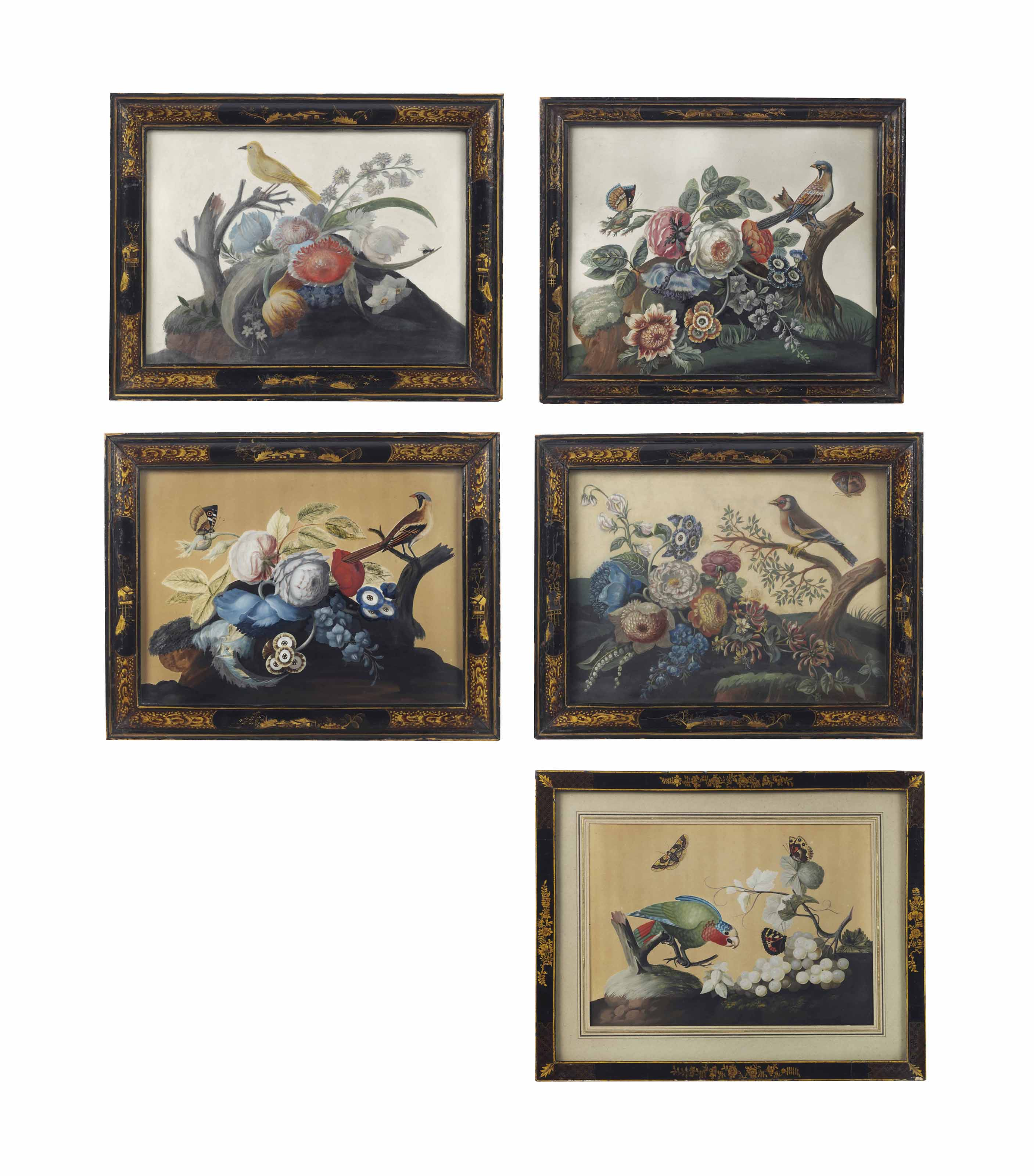 A SET OF FIVE IRISH GEORGE II EMBOSSED BIRD PICTURES