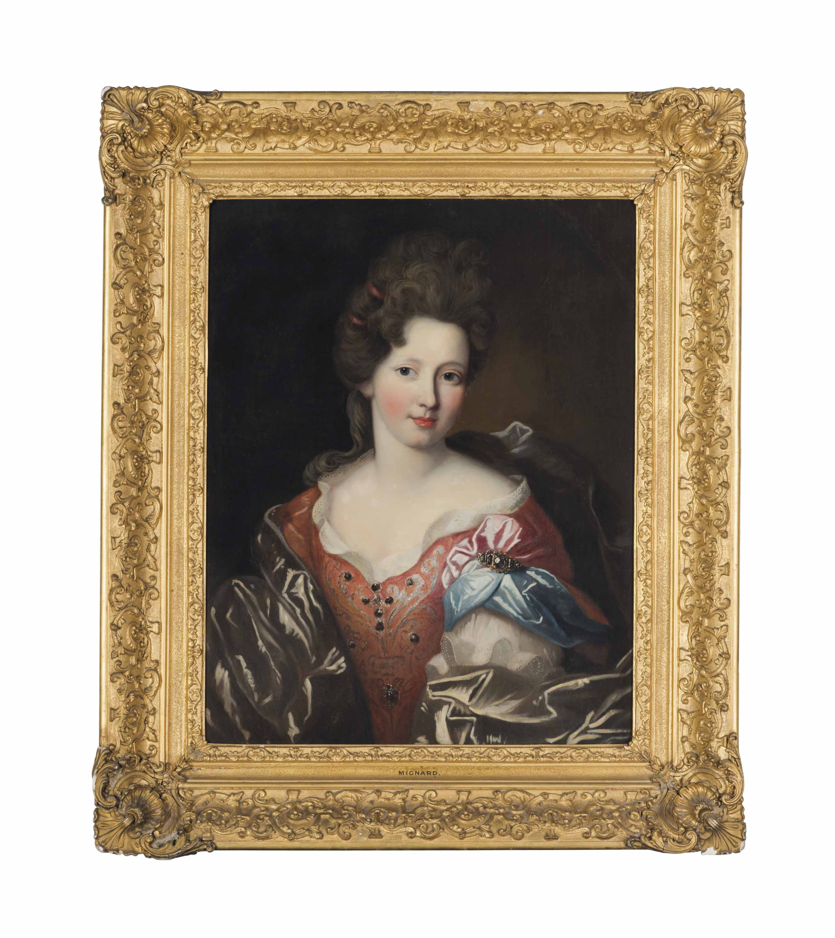 Portrait of Madame Valentinous, half-length, in a red embroidered dress with a blue and grey wrap