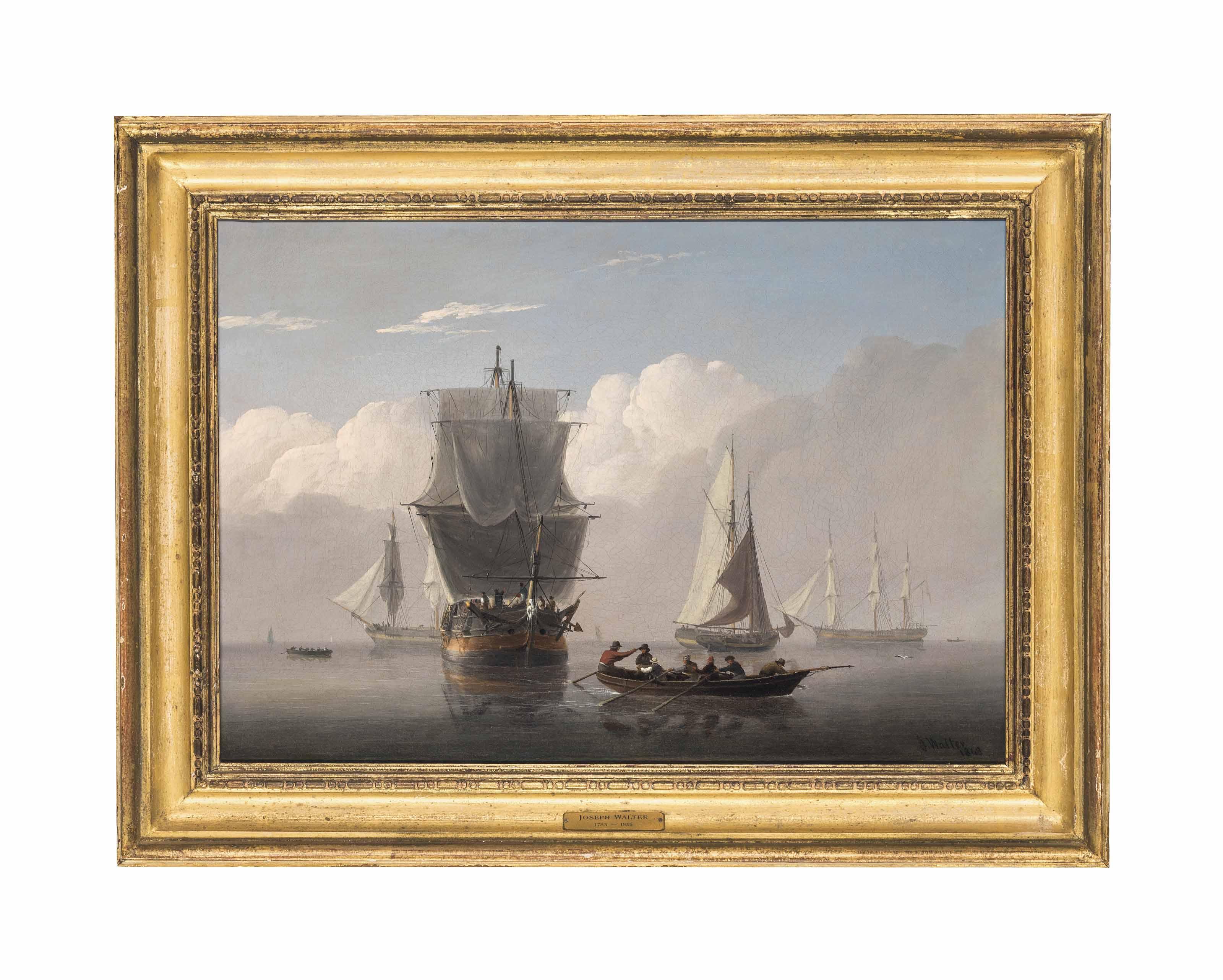Merchantmen and fishing vessels becalmed