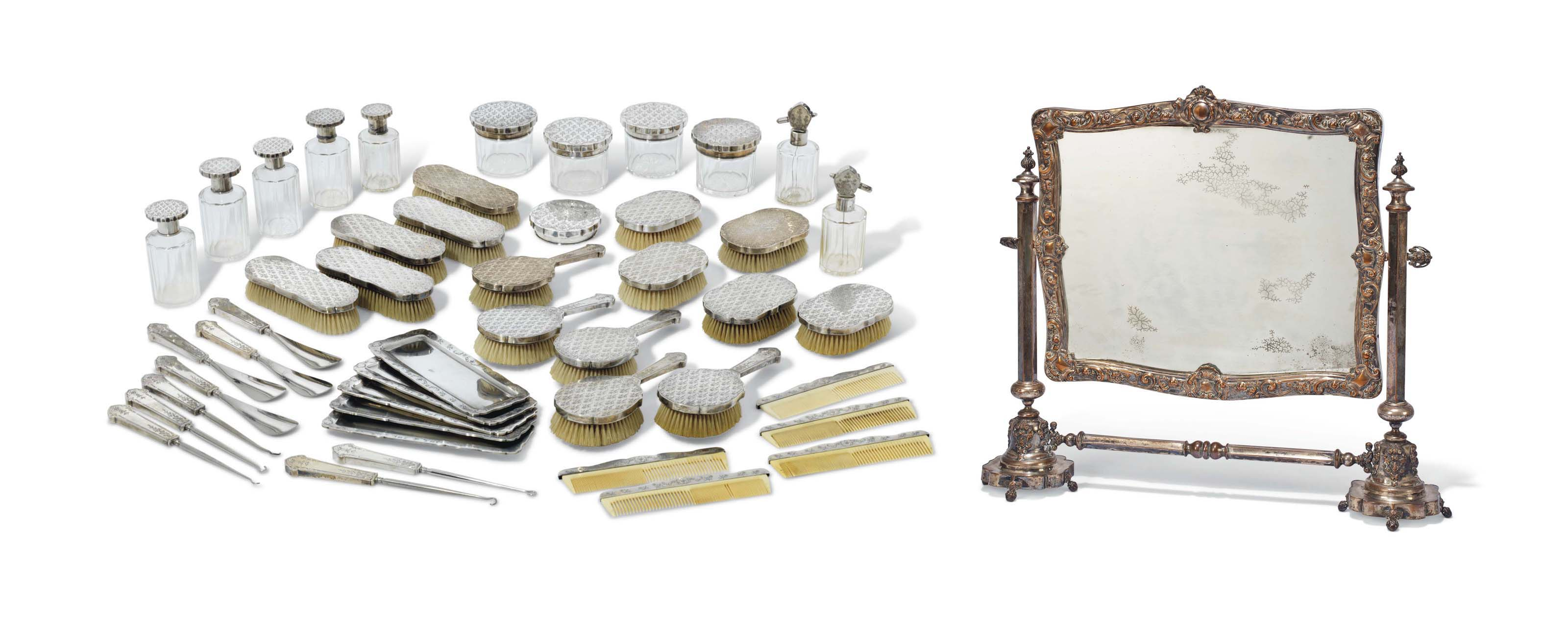 AN ITALIAN SILVER-MOUNTED DRESSING-TABLE SET