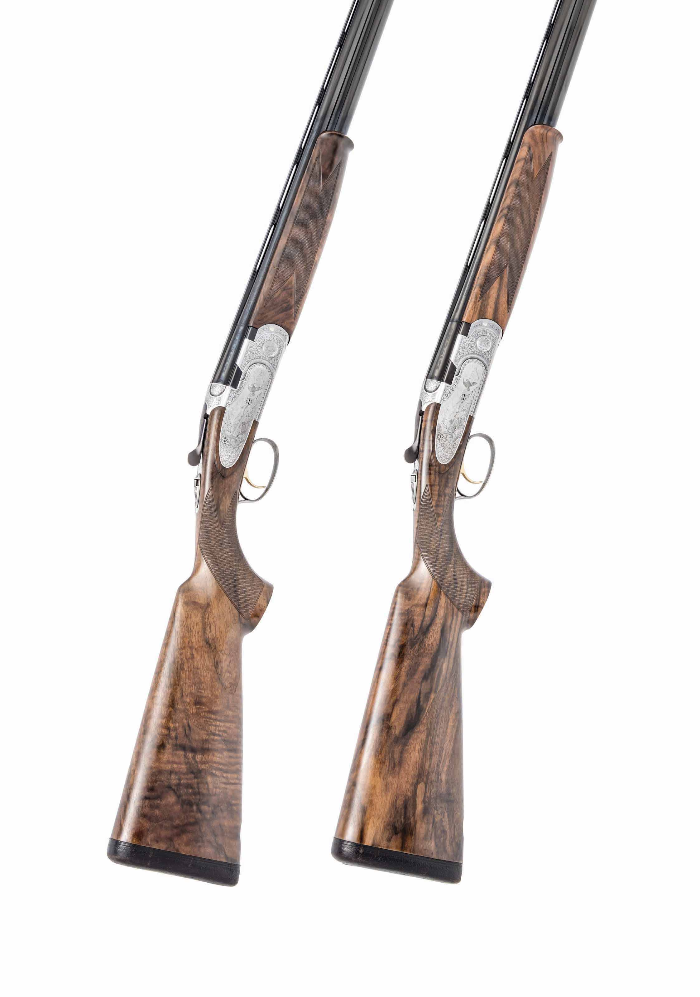 A PAIR OF BOTTEGA C. GIOVANELLI ENGRAVED 20-BORE S687 EELL 'DIAMOND PIGEON' SINGLE-TRIGGER SIDE-PLATED OVER-AND-UNDER EJECTORS