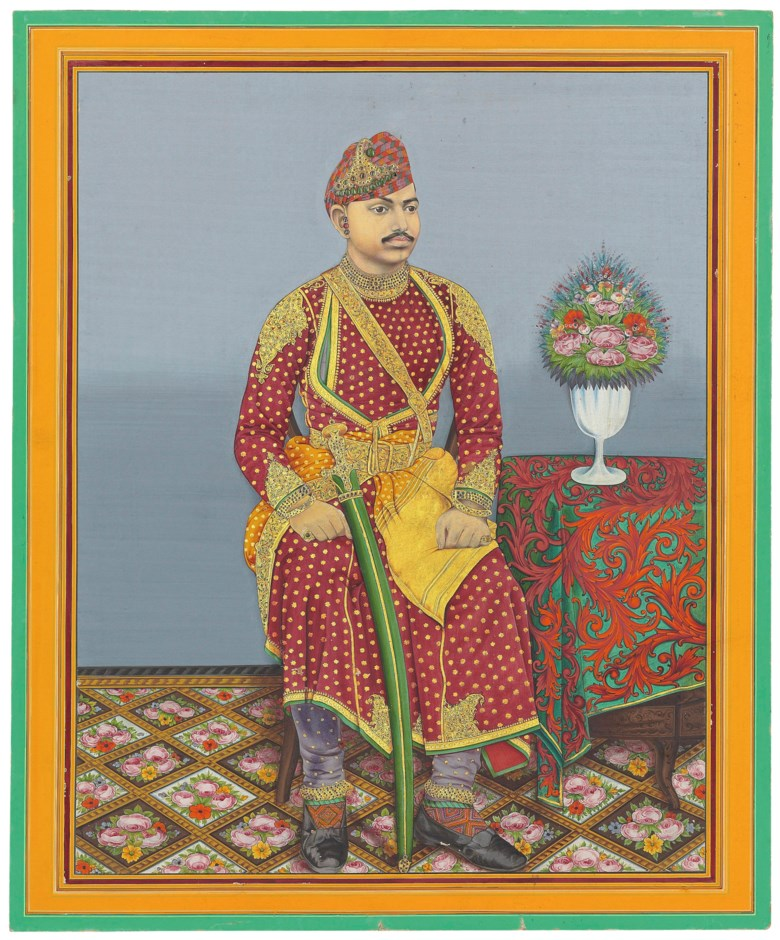 A seated portrait of Maharao Umed Singh II of Kotah (r. 1889-1940). Rajasthan, North India, first quarter 20th century. 28¾ x 23¾ in (73 x 60.4 cm). Estimate £4,000-6,000. This lot is offered in Indian Art Online Painting the Maharaja, 18-25 May 2017