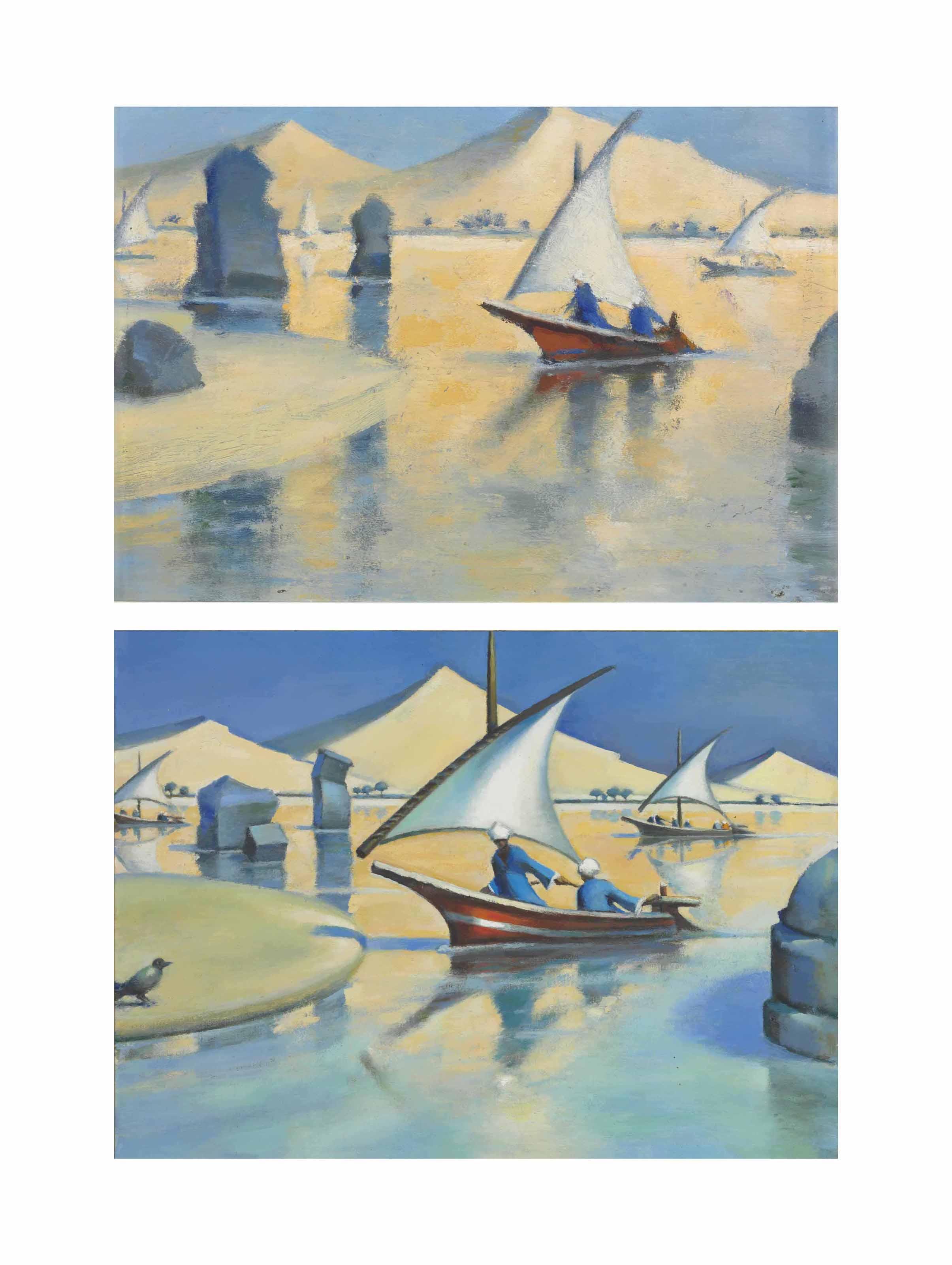 (i) Assouan – île et dunes  (ii) Assouan – île et dunes (esquisse)