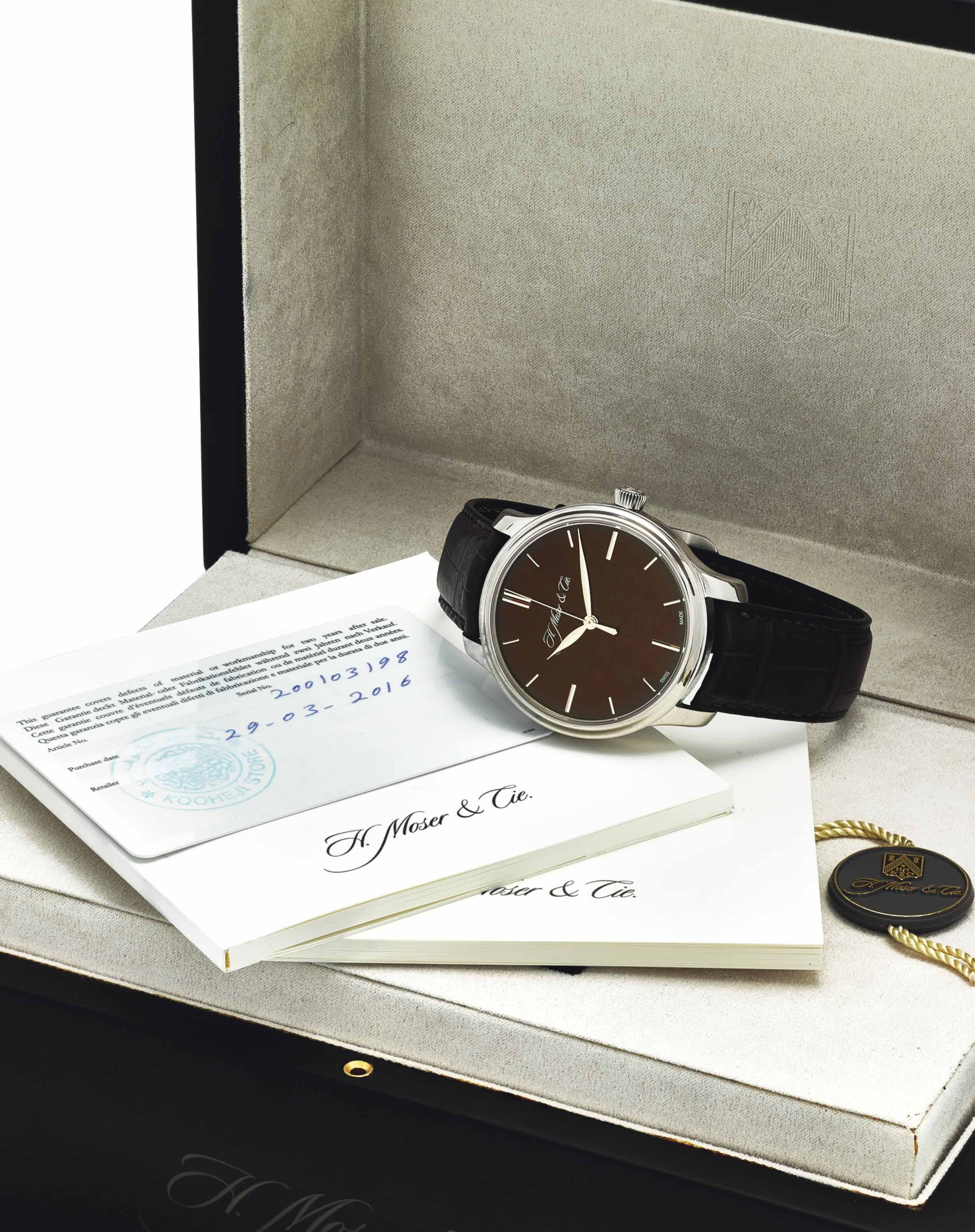 H. MOSER & CIE. A FINE 18K WHITE GOLD WRISTWATCH WITH SWEEP CENTRE SECONDS, 7 DAY POWER RESERVE, ORIGINAL CERTIFICATE AND BOX