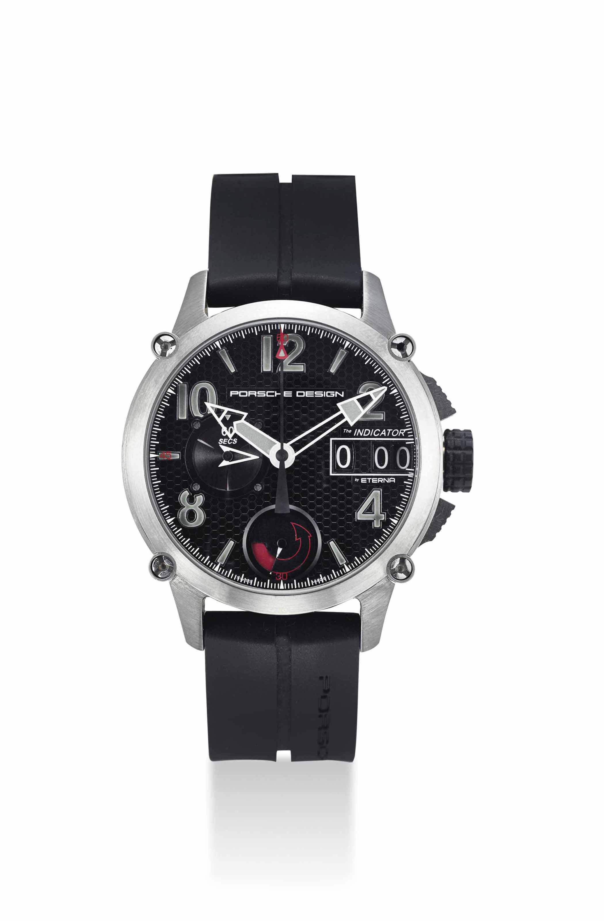 PORSCHE DESIGN. A RARE AND UNUSUAL TITANIUM AUTOMATIC CHRONOGRAPH WRISTWATCH WITH POWER RESERVE AND LARGE CHRONOGRAPH ELAPSED TIME INDICATOR