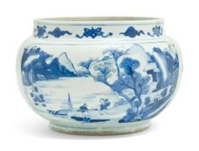 A BLUE AND WHITE GLOBULAR JAR
