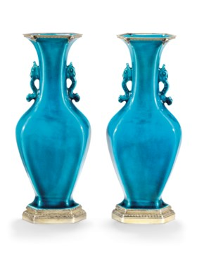 A PAIR OF TURQUOISE GLAZED VASES
