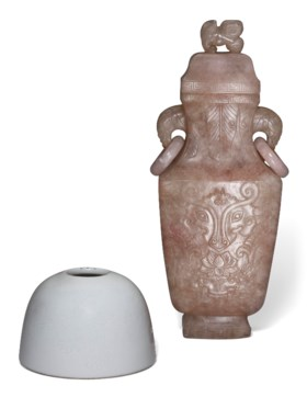 A WHITE-GLAZED WATER POT AND A ROSE QUARTZ VASE AND COVER