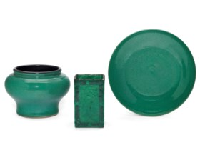 THREE GREEN CRACKLE-GLAZED VESSELS