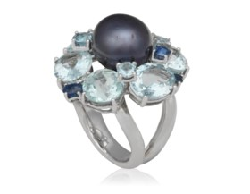 CULTURED PEARL, AQUAMARINE, SAPPHIRE AND DIAMOND RING