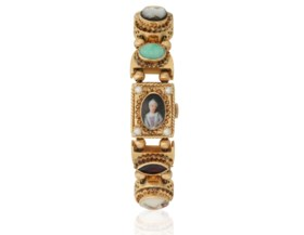 LADY'S MULTI-GEM AND GOLD WATCH
