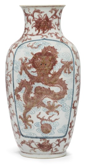 A BLUE AND WHITE AND COPPER-RED 'DRAGON AND PHOENIX' VASE