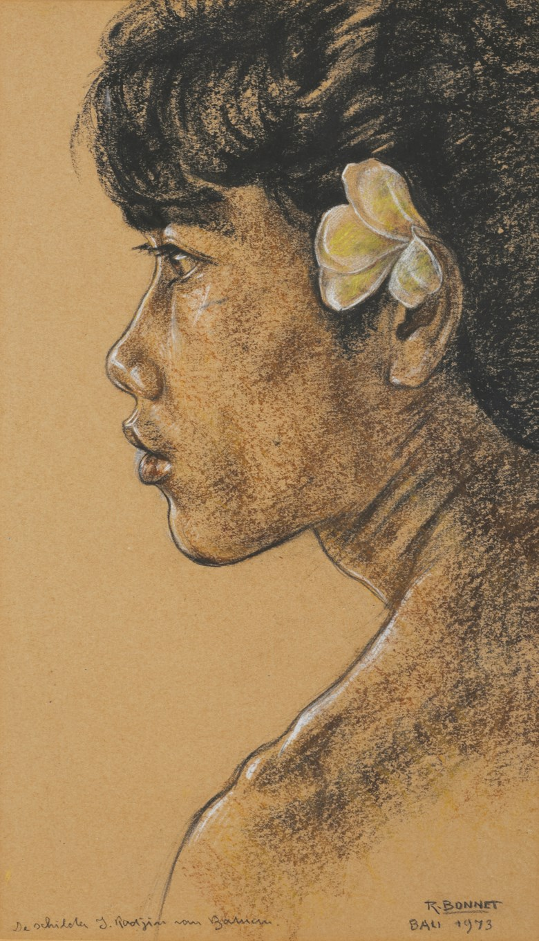 Rudolf Bonnet (The Netherlands, 1895-1978), Man with Bunga. Charcoal and pastel on paper, 48.5 x 27.5 cm (19⅛ x 10⅞ in). Estimate $3,500-4,500. This lot is offered in Asian 20th Century and Contemporary Art Online PaperEditions on 22-29 May 2017