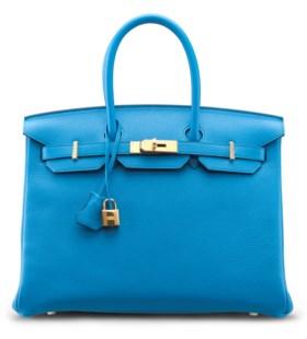 A BLUE ZANZIBAR CLEMENCE LEATHER BIRKIN 35 BAG