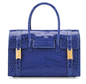 A SHINY BLUE ELECTRIC NILO CROCODILE DRAG 26 BAG