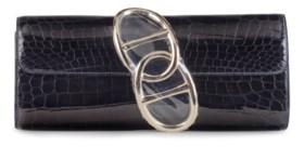 A SHINY BLACK NILO CROCODILE EGEE CLUTCH BAG