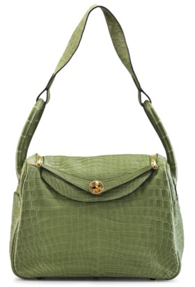 A MATTE PELOUSE NILO CROCODILE LINDY 30 BAG