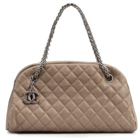 A BRONZE QUILTED CAVIAR LEATHER MADEMOISELLE BAG