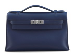 A BLEU SAPHIR SWIFT LEATHER KELLY POCHETTE BAG