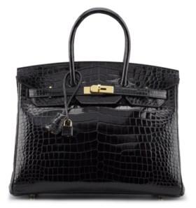 A 35CM SHINY BLACK POROSUS CROCODILE BIRKIN BAG