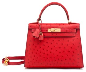 A ROUGE VIF OSTRICH SELLIER KELLY 28 WITH GOLD HARDWARE
