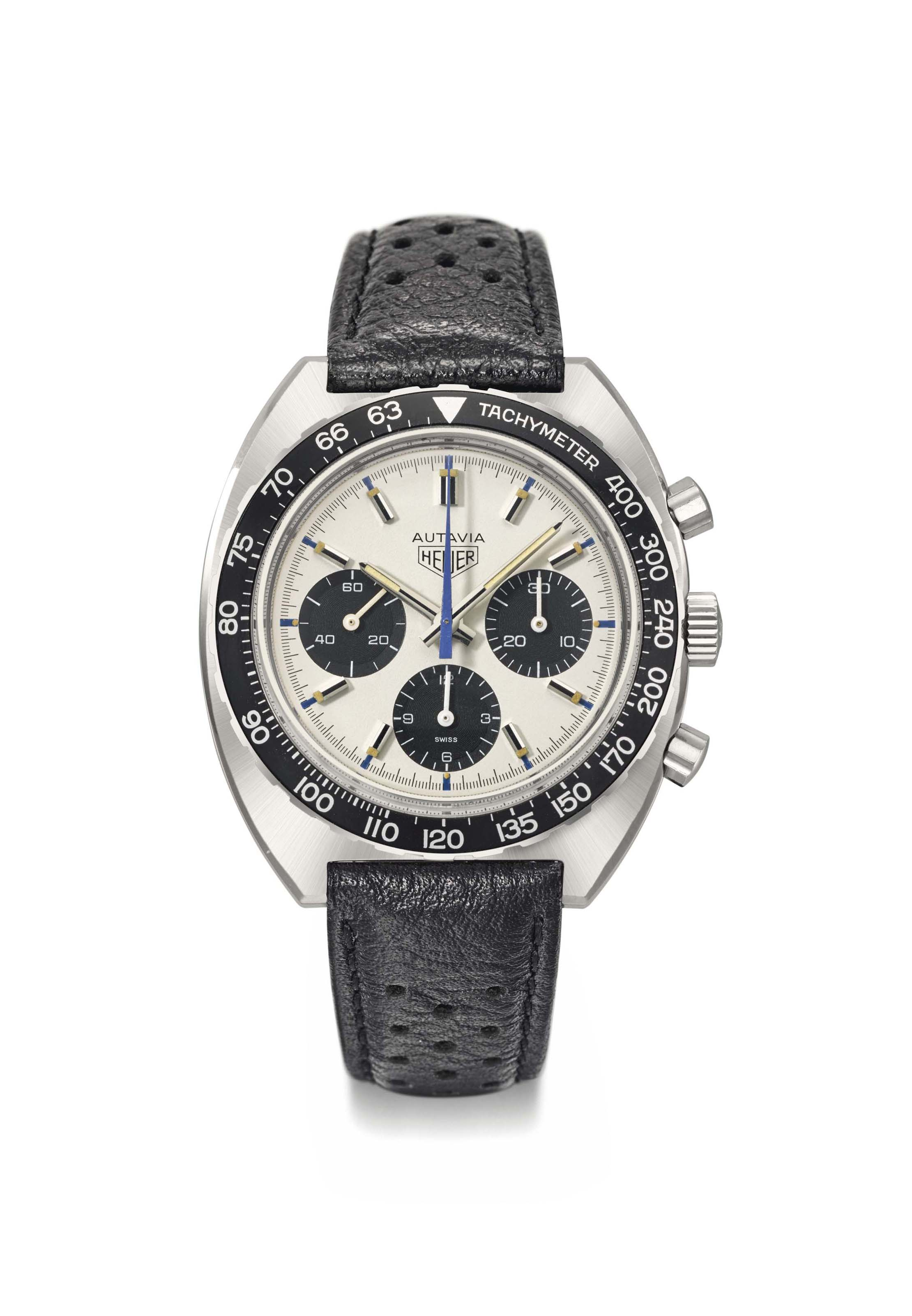 Heuer. A fine and large stainless steel tonneau-shaped chronograph wristwatch