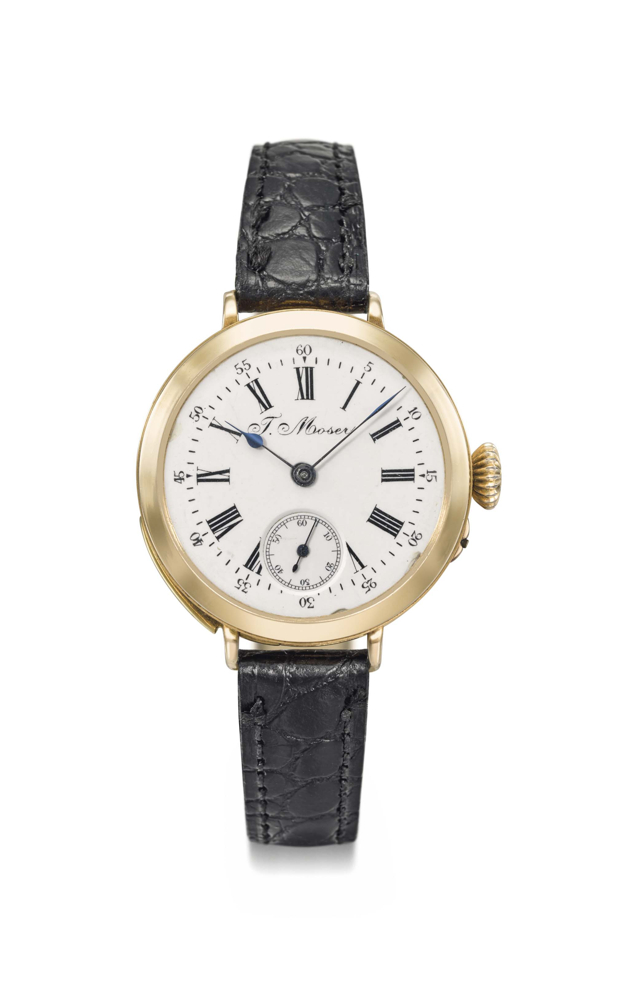Moser. A fine and rare 18K pink gold minute repeating converted wristwatch, made for the Russian market