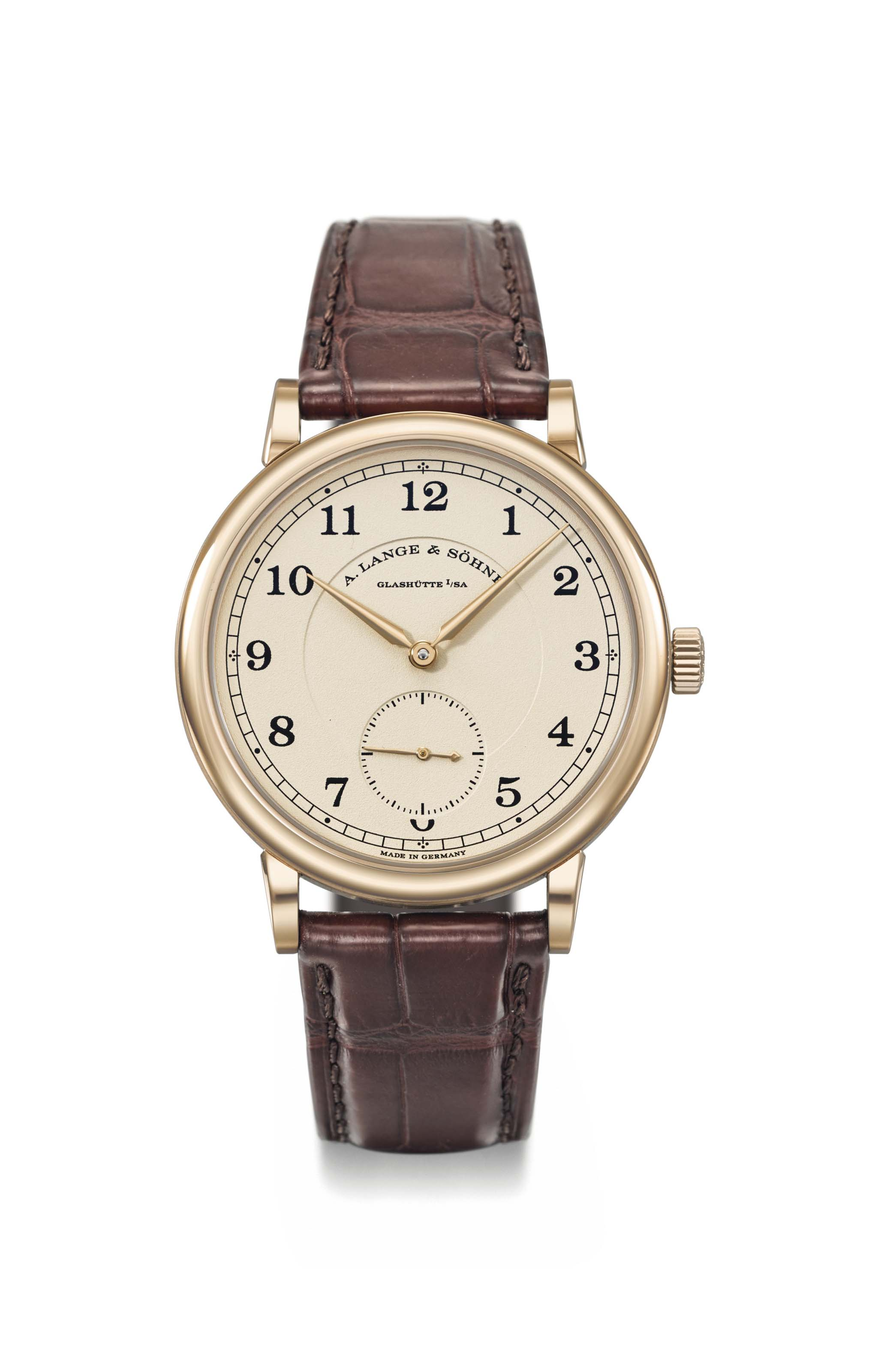A. Lange & Söhne. A very fine 18K honey gold limited edition wristwatch, original box and certificate