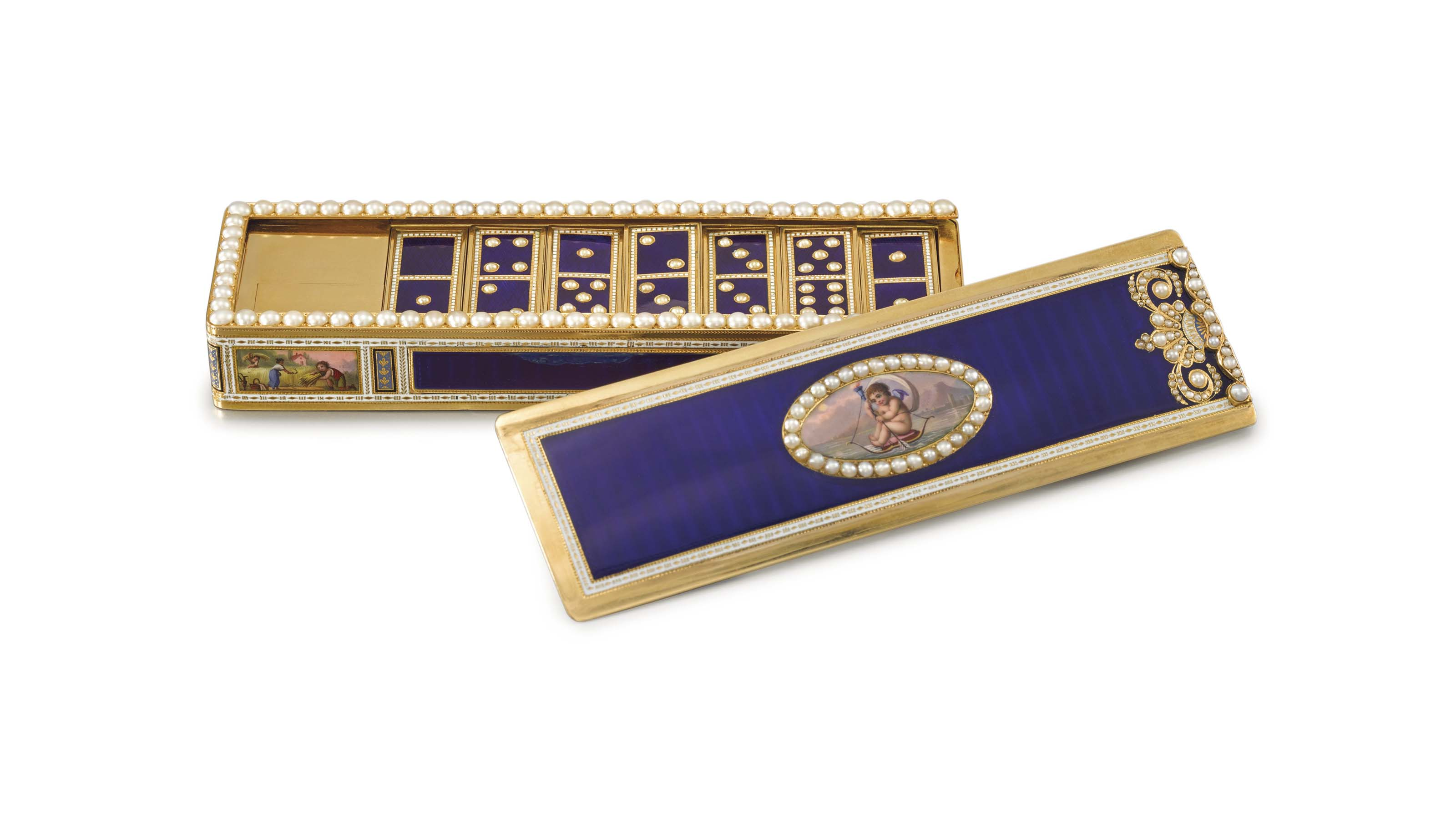 Moulinie, Bautte & Cie. An exceptional and magnificent, probably unique 18K gold enamel and pearl-set musical domino box with twenty-eight 18K gold enamel and pearl-set dominos, made for the Chinese market