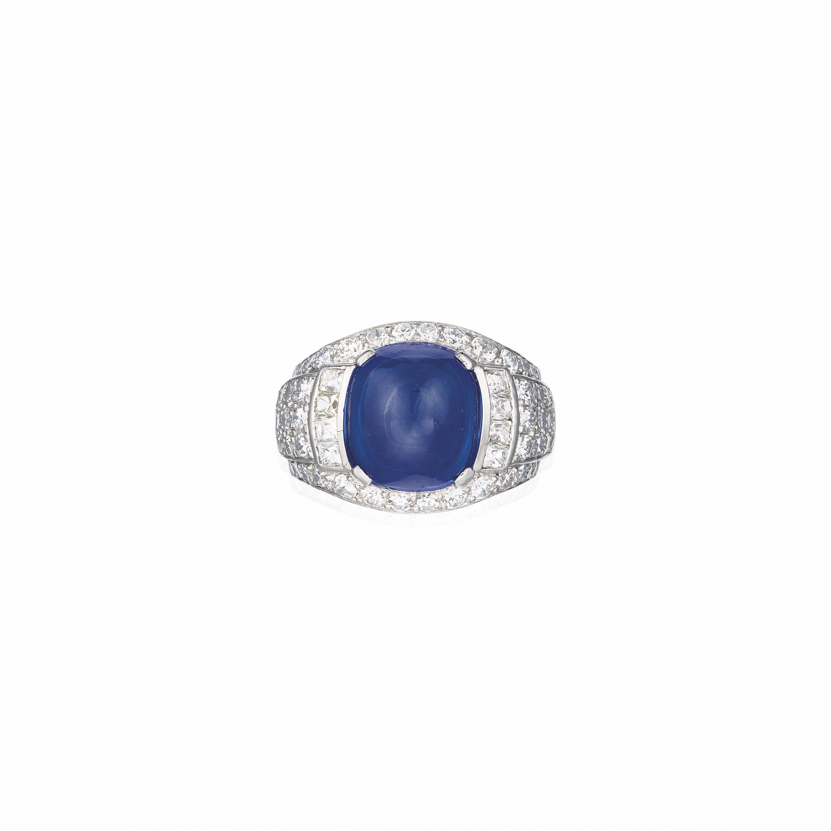 A SAPPHIRE AND DIAMOND RING, BY BOLIN