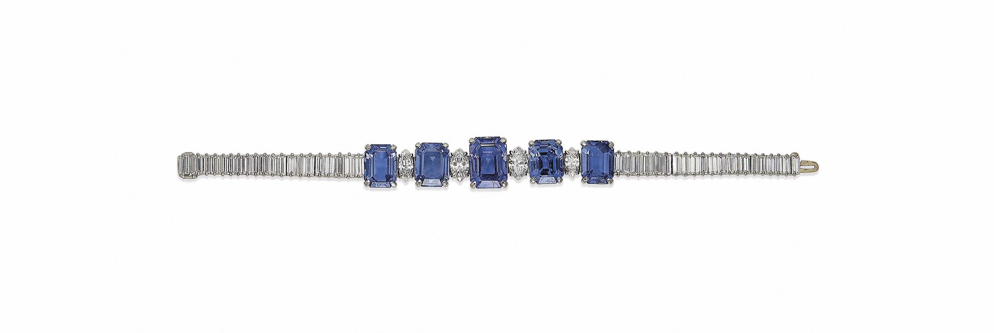 A SAPPHIRE AND DIAMOND BRACELET, BY CUSI