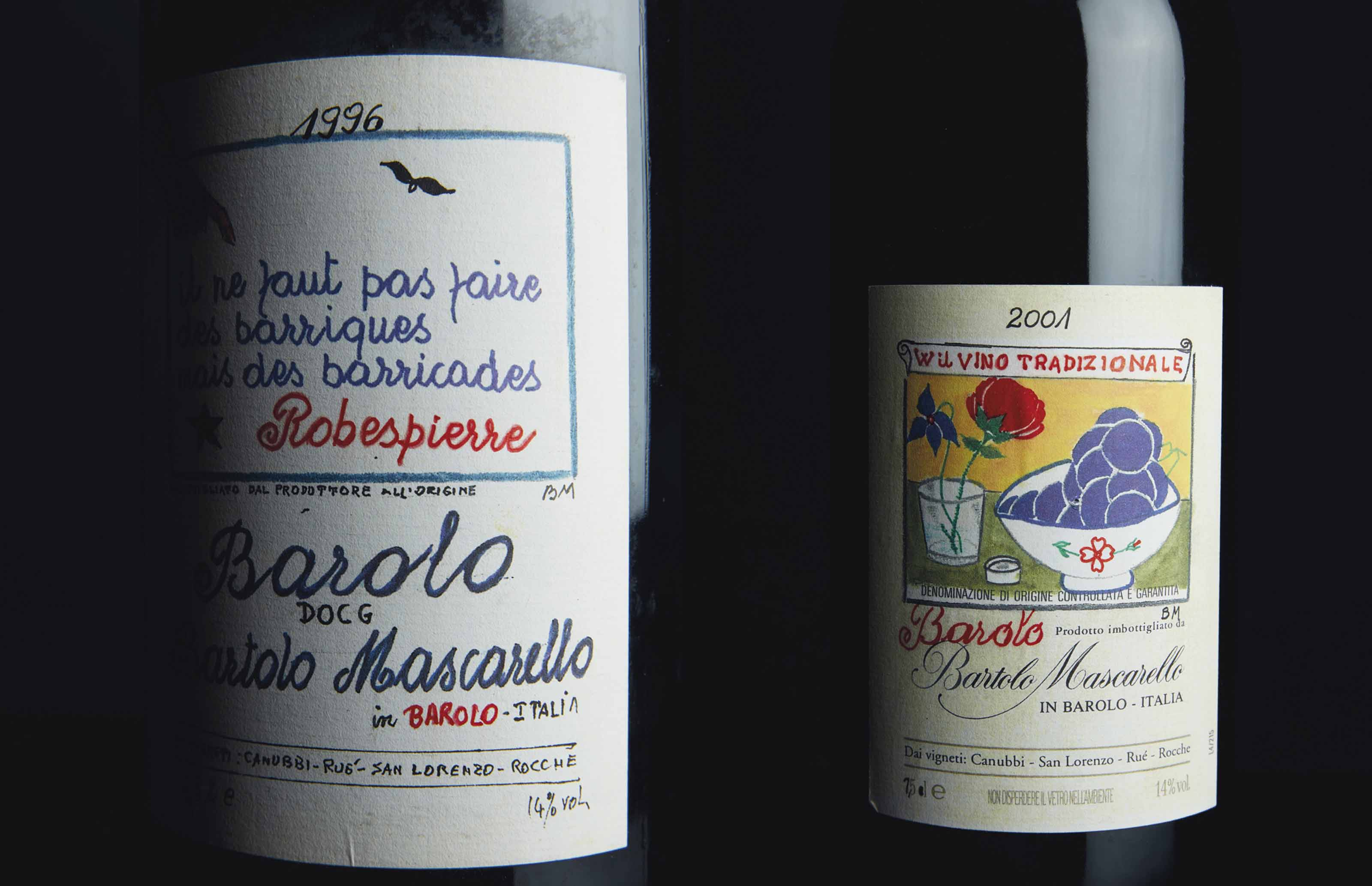 Bartolo Mascarello, Barolo, Art Label  Piedmont 1996  Label with original, hand-painted artwork by Bartolo Mascarello t magnum (1) 2001  Label with original, hand-painted artwork by Bartolo Mascarello  magnum (1) 2004  Reproduction of original, hand-painted artwork by Bartolo Mascarello  (1)