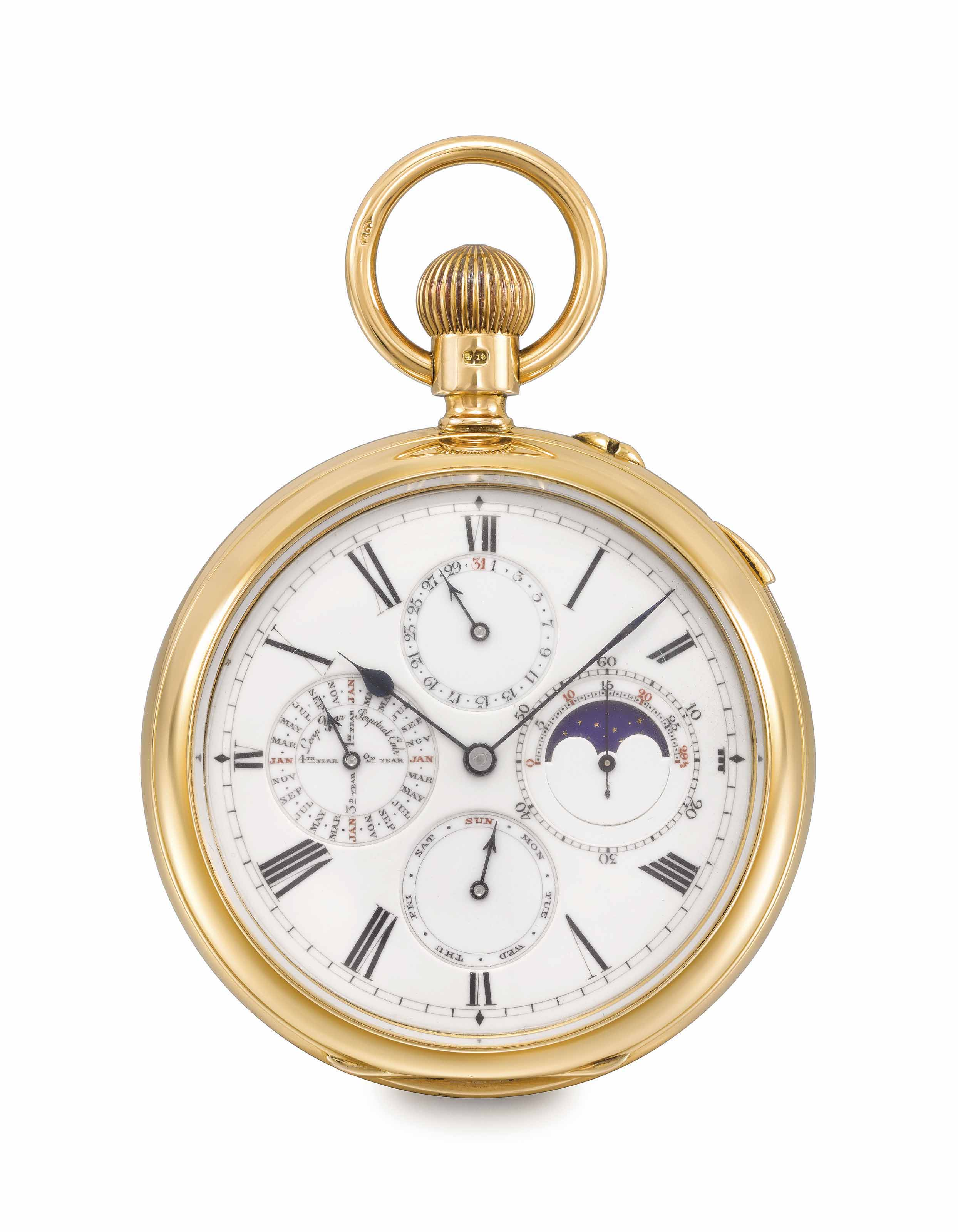 Le Roy & Son. An extremely fine, rare and large 18K gold openface two-train trip-minute repeating Grande and Petite Sonnerie keyless lever clockwatch with perpetual calendar, moon phases and lunar calendar