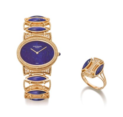 Patek Philippe. A very fine, rare and elegant lady's 18K gold, lapis lazuli...