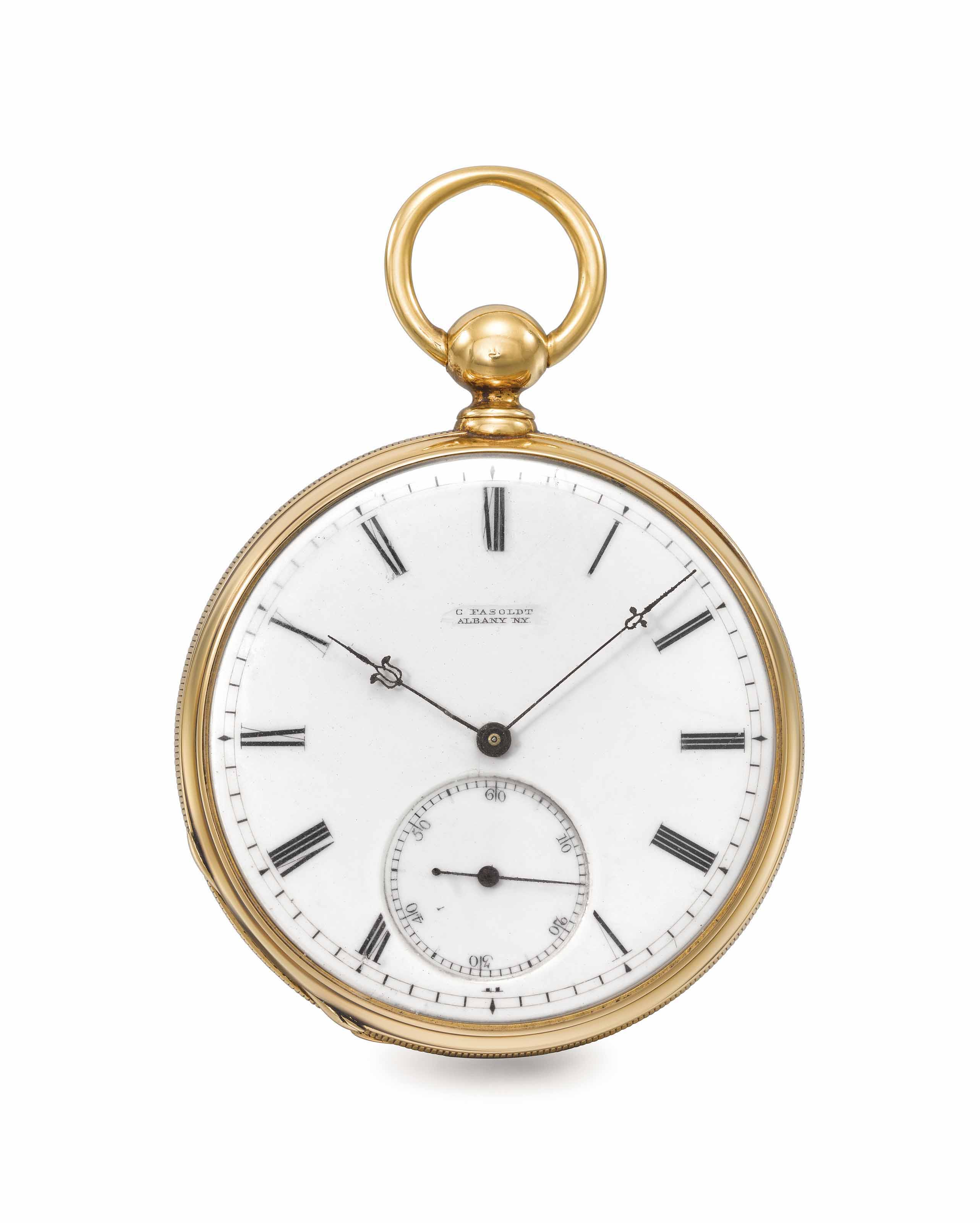 Charles Fasoldt. A fine and extremely rare 18K gold openface pocket chronometer with Fasoldt's patented double-wheel escapement