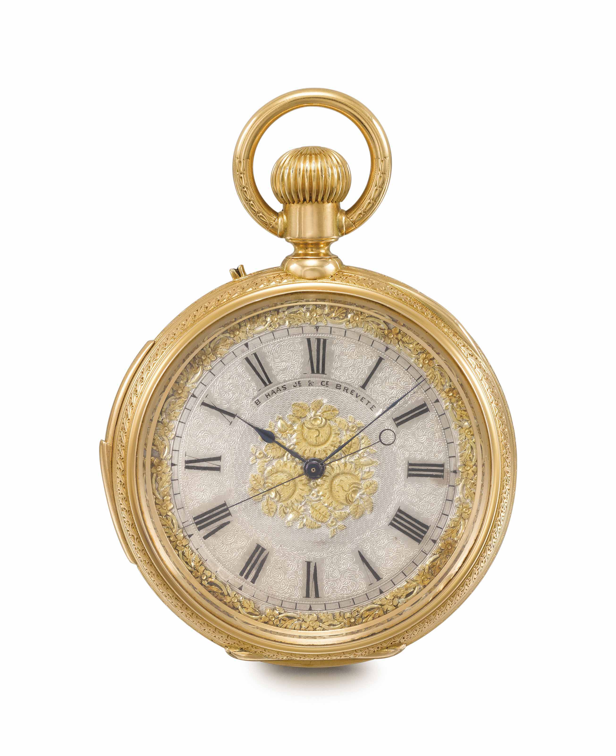 B. Haas Jeune & Cie. A fine rare and unusual 18K gold minute repeating double-dial two-train keyless lever chronometer with independent jump centre seconds and calendar