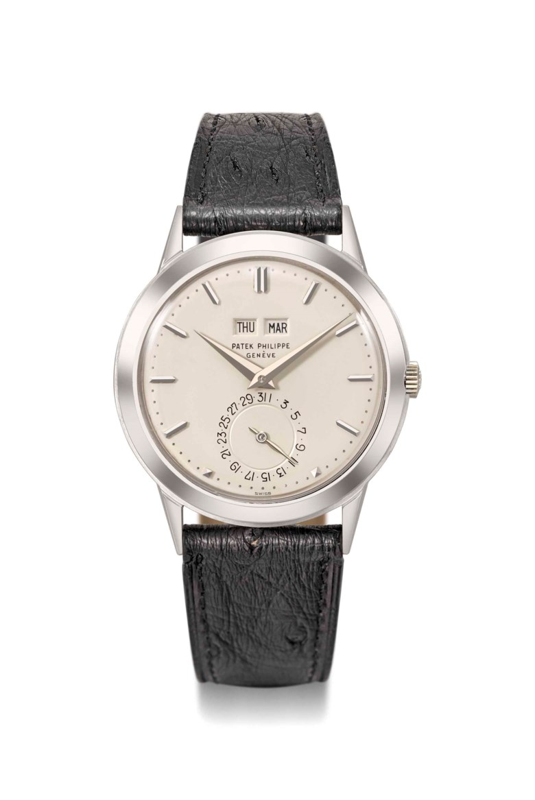 Patek Philippe. An exceptional and historically important 18K white gold automatic perpetual calendar wristwatch without moon phases, Signed Patek Philippe, Genève, ref. 3448, movement no. 1'119'585, case no. 332'625, manufactured in 1981. Sold for CHF 972,500 on 13 November 2017  at Christie's in Geneva