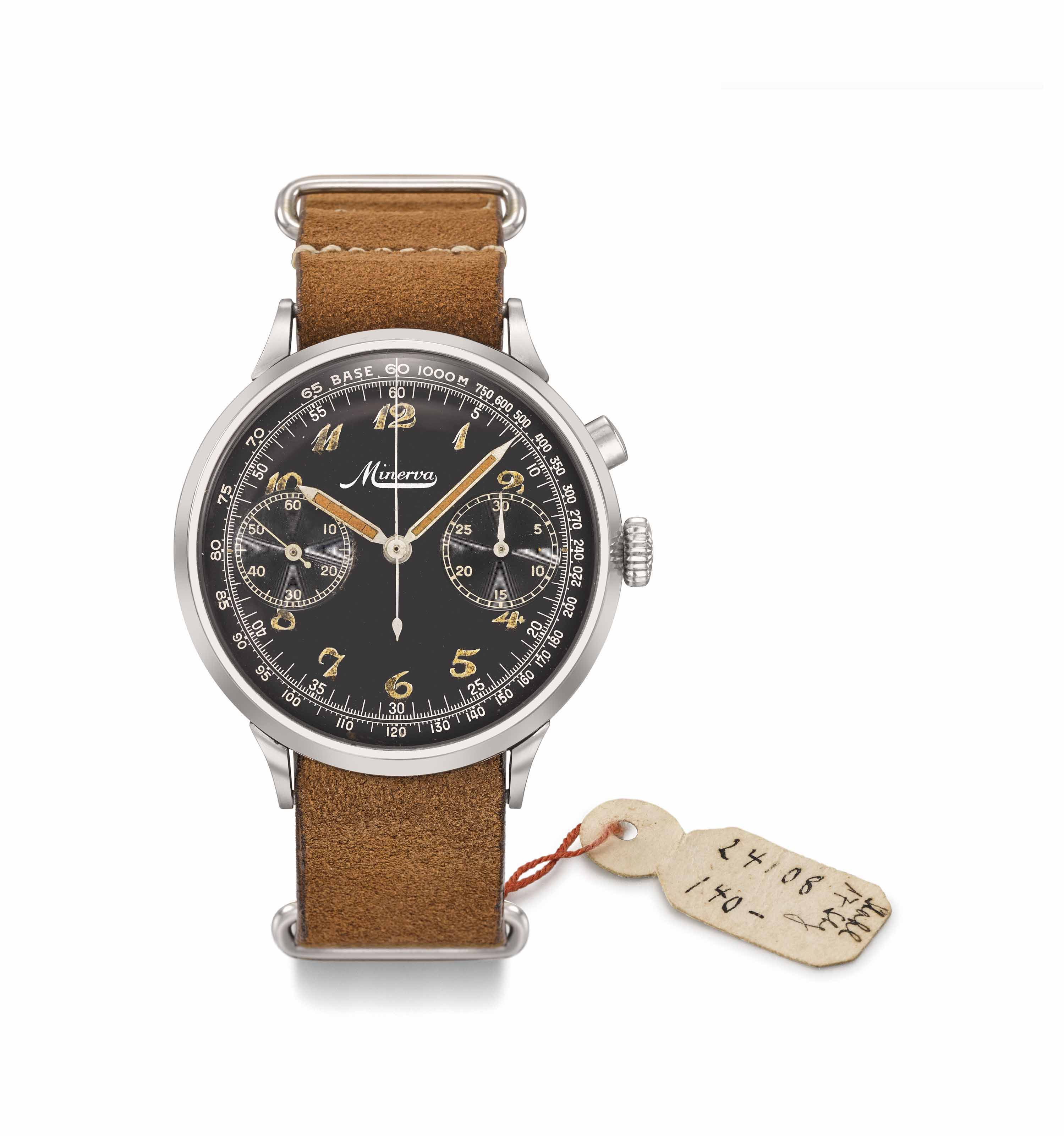 Minerva. A large and unusual stainless steel military single button chronograph wristwatch with 30 minutes register, black gloss dial and luminous Breguet numerals