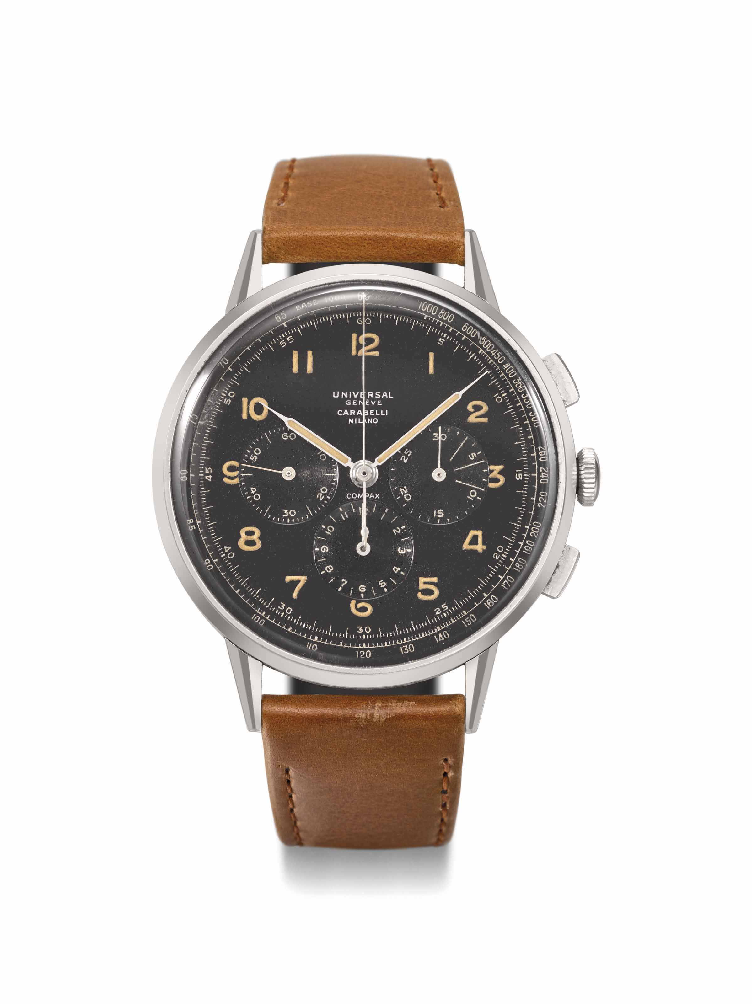 Universal Genève. A fine and very rare oversized stainless steel military chronograph wristwatch with registers, tachometer scale and black dial