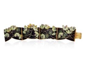 AN ART NOUVEAU ENAMEL AND DIAMOND BRACELET, BY RENÉ LALIQUE