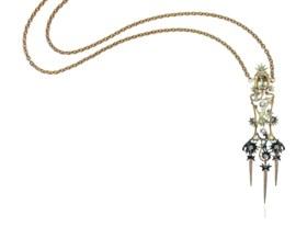 AN ART NOUVEAU BERYL, DIAMOND AND GARNET PENDENT NECKLACE, B