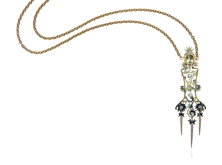 An Art Nouveau beryl, diamond and garnet pendant necklace, by René Lalique. Estimate CHF 80,000-100,000. This lot is offered in Beyond Boundaries Magnificent Jewels from a European Collection on 13 November 2017  at Christie's in Geneva