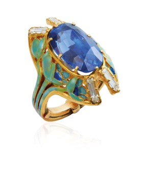 AN ART NOUVEAU SAPPHIRE, ENAMEL AND DIAMOND RING, BY RENÉ LA